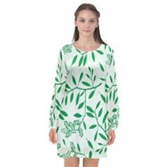 Leaves Foliage Green Wallpaper Long Sleeve Chiffon Shift Dress  by Mariart