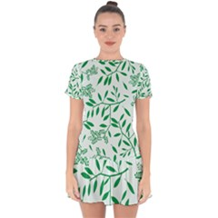 Leaves Foliage Green Wallpaper Drop Hem Mini Chiffon Dress by Mariart
