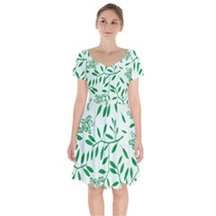 Leaves Foliage Green Wallpaper Short Sleeve Bardot Dress