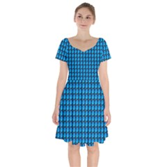 Background Pattern Structure Blue Short Sleeve Bardot Dress by AnjaniArt