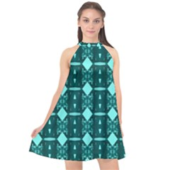 Background Plaid Halter Neckline Chiffon Dress