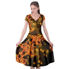 Flowers Background Bokeh Leaf Cap Sleeve Wrap Front Dress by Mariart