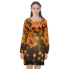 Flowers Background Bokeh Leaf Long Sleeve Chiffon Shift Dress