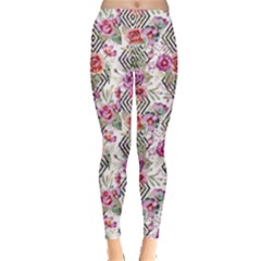 Flowers Geometric Pattern Leggings  by goljakoff