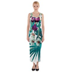 Tropical Flowers Fitted Maxi Dress by goljakoff