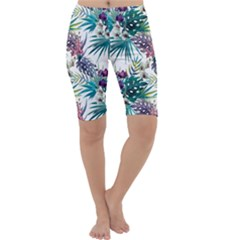 Tropical Flowers Pattern Cropped Leggings  by goljakoff
