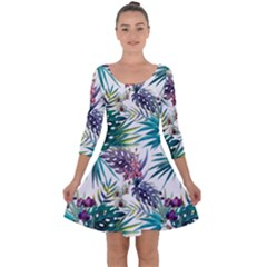 Tropical Flowers Pattern Quarter Sleeve Skater Dress by goljakoff