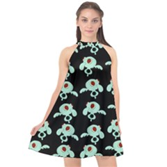 Squidward In Repose Pattern Halter Neckline Chiffon Dress  by Valentinaart