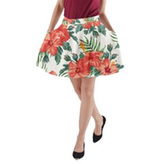 Red Flowers A Line Pocket Skirt by goljakoff