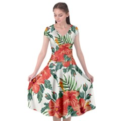 Red Flowers Cap Sleeve Wrap Front Dress by goljakoff