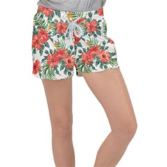 Red Flowers Women s Velour Lounge Shorts by goljakoff