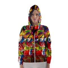 Dragon Lights Centerpiece Hooded Windbreaker (women) by Riverwoman