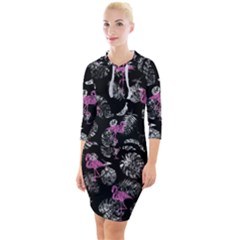 Flamingo Pattern Quarter Sleeve Hood Bodycon Dress by Valentinaart