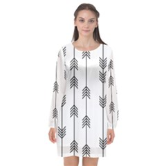Black And White Abstract Pattern Long Sleeve Chiffon Shift Dress  by Valentinaart
