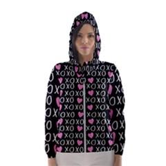Xo Valentines Day Pattern Hooded Windbreaker (women) by Valentinaart