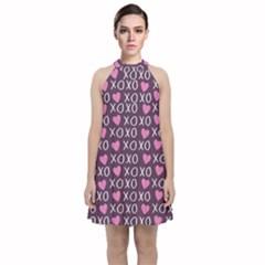 Xo Valentines Day Pattern Velvet Halter Neckline Dress  by Valentinaart