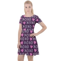 Xo Valentines Day Pattern Cap Sleeve Velour Dress  by Valentinaart