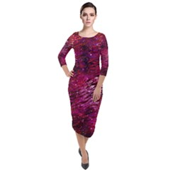 Funny Galaxy Tiger Pattern Quarter Sleeve Midi Velour Bodycon Dress by tarastyle