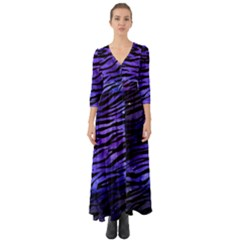 Funny Galaxy Tiger Pattern Button Up Boho Maxi Dress