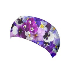 Pretty Purple Pansies Yoga Headband by retrotoomoderndesigns