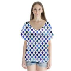 Shades Of Blue Polka Dots V-neck Flutter Sleeve Top by retrotoomoderndesigns