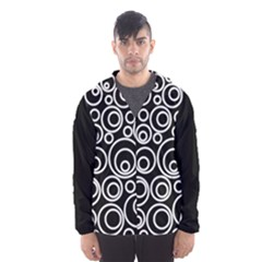 Abstract White On Black Circles Design Hooded Windbreaker (men) by LoolyElzayat