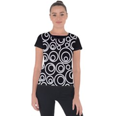 Abstract White On Black Circles Design Short Sleeve Sports Top  by LoolyElzayat