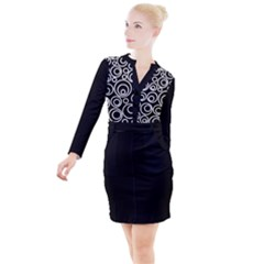 Abstract White On Black Circles Design Button Long Sleeve Dress by LoolyElzayat