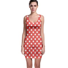 Red White Polka Dots Bodycon Dress
