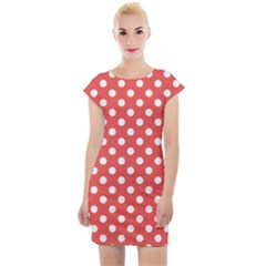 Red White Polka Dots Cap Sleeve Bodycon Dress by retrotoomoderndesigns
