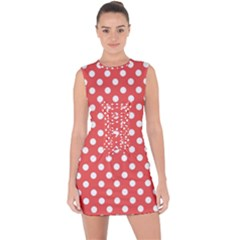 Red White Polka Dots Lace Up Front Bodycon Dress by retrotoomoderndesigns