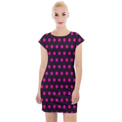 Pink Black Polka Dots Cap Sleeve Bodycon Dress