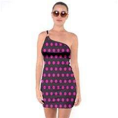 Pink Black Polka Dots One Soulder Bodycon Dress by retrotoomoderndesigns