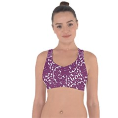 Magenta And White Abstract Print Pattern Cross String Back Sports Bra by dflcprintsclothing
