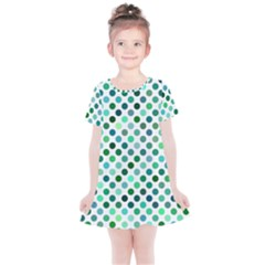 Shades Of Green Polka Dots Kids  Simple Cotton Dress by retrotoomoderndesigns