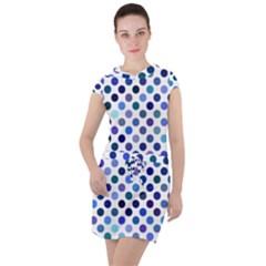 Shades Of Blue Polka Dots Drawstring Hooded Dress by retrotoomoderndesigns