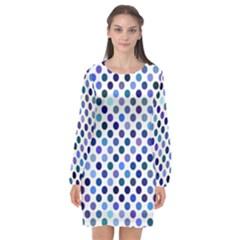Shades Of Blue Polka Dots Long Sleeve Chiffon Shift Dress