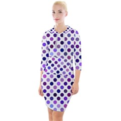 Shades Of Purple Polka Dots Quarter Sleeve Hood Bodycon Dress by retrotoomoderndesigns