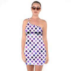 Shades Of Purple Polka Dots One Soulder Bodycon Dress by retrotoomoderndesigns