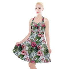 Tropical Flowers Halter Party Swing Dress  by goljakoff