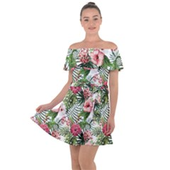 Tropical Flowers Off Shoulder Velour Dress by goljakoff