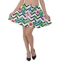 Geometric Flowers Pattern Velvet Skater Skirt by goljakoff