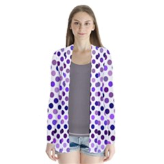 Shades Of Purple Polka Dots Drape Collar Cardigan by retrotoomoderndesigns