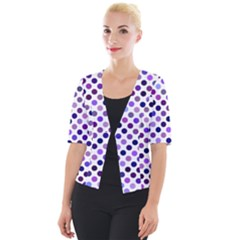 Shades Of Purple Polka Dots Cropped Button Cardigan by retrotoomoderndesigns