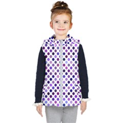 Shades Of Purple Polka Dots Kids  Hooded Puffer Vest by retrotoomoderndesigns