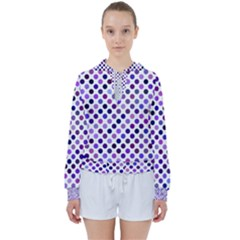Shades Of Purple Polka Dots Women s Tie Up Sweat by retrotoomoderndesigns