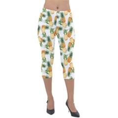 Pineapples Pattern Lightweight Velour Capri Leggings  by goljakoff
