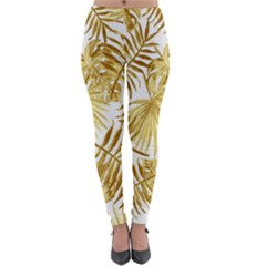Gold Tropical Leaves Lightweight Velour Leggings by goljakoff