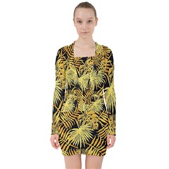 Gold Tropical Leaves V Neck Bodycon Long Sleeve Dress by goljakoff