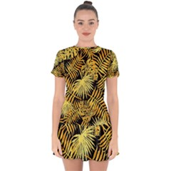 Gold Tropical Leaves Drop Hem Mini Chiffon Dress by goljakoff